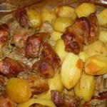 картофель с мясом в горчичном соусе