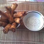 Сигары-фри блюдо из лаваша с соусом