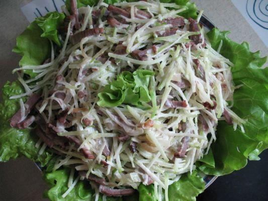 салат с редькой и мясом рецепт с фото