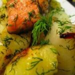 Запеченная горбуша в духовке с картофелем