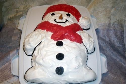 Торт в виде снеговика фото