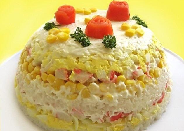 рецепты салатов с крабовыми палочками слоями