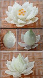 Украшение салатов к праздничному столу. Цветы из овощей