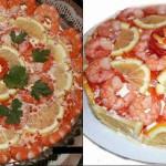 Праздничный салат с креветками Шуба