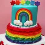 Красочный торт Радуга. Как украсить торт мастикой
