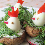 Пасхальное блюдо. Закуска из грибов и яиц Гнездо с цыплятами