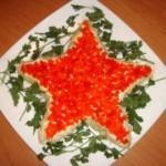 Салат на 9 Мая. Салат с рыбой и сыром Звезда